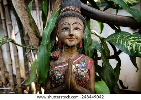 Sculpture of Asian woman in Thailand - stock photo