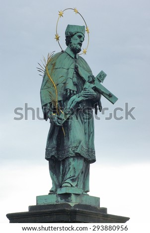 Sculpture of Charles Bridge over Vltava river in Prague, Czech Republic - stock photo