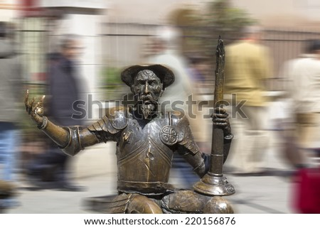 sculpture of don Quixote of la mancha in bronze - stock photo
