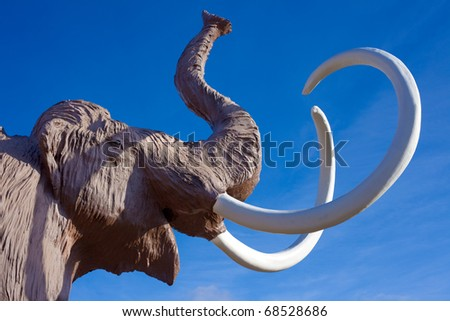 Sculpture of extinct wooly mammoth.
