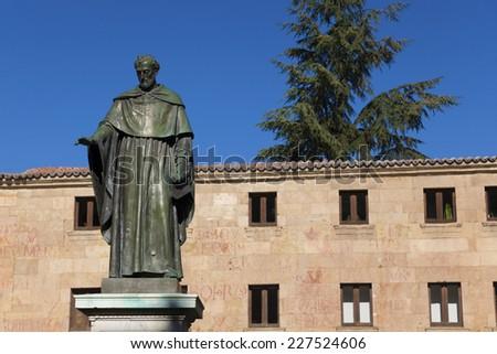 Sculpture of Fray Luis de Leon, Salamanca, Castilla y Leon, Spain - stock photo