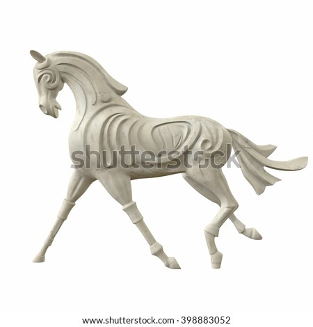 Sculpture of horse gait. Model isolated on white background. 3d illustration - stock photo