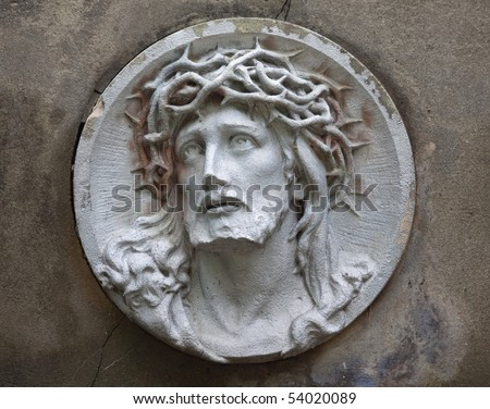 sculpture of Jesus Christ in the face of thorny wreath - stock photo