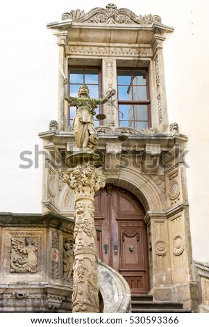 Sculpture of Lady Justice (Justitia) from 1591 at the old town hall of Goerlitz