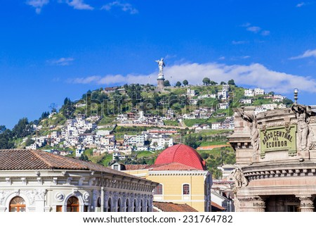 Sculpture of the Virgin in Panecillo hill Quito Ecuador South America - stock photo
