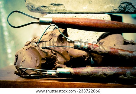 Sculpture Tool, vintage filtered - stock photo