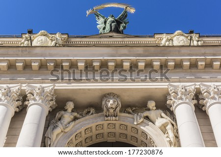Sculptures adorn front of Solomiya Krushelnytska Lviv State Academic Opera and Ballet Theatre. Theatre (1897 - 1900) was built in classical tradition of Renaissance and Baroque architecture. Ukraine - stock photo