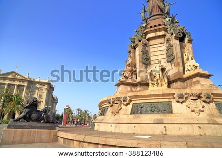 Sculptures decorate the monument of Christopher Columbus in Barcelona, Catalonia, Spain - stock photo
