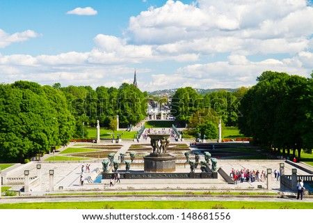 Sculptures in Vigeland park Oslo Norway - stock photo