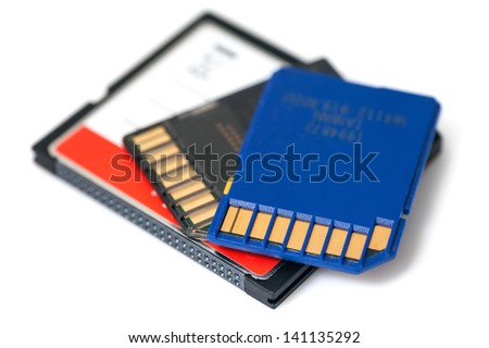 SD and Compact Flash Memory Cards iSolated on White Background. - stock photo