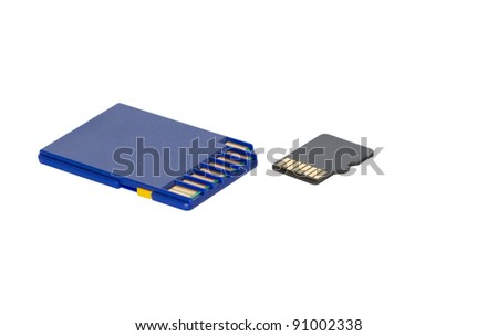 SD and micro SD cards isolated - stock photo