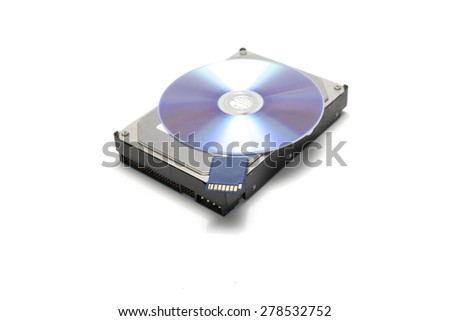 sd card and hard disk with cd dish isolated on white background - stock photo