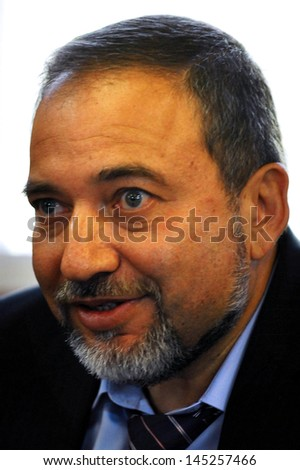 SDEROT,ISR - FEB 04:Avigdor Lieberman on Feb 04 2009:He was Israel Minister of Foreign Affairs until 18 Dec 2012,when investigation in which he was charged with fraud and breach of trust,took effect - stock photo