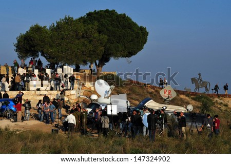 SDEROT - JAN 07:Foreign correspondents on January 7 2009.A report from 2011 shows that since 1992, 887 journalists have been killed worldwide by murder, crossfire, combat and on dangerous assignments. - stock photo