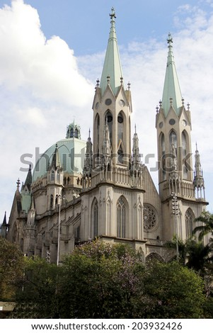 se cathedral in downtown sao paulo, brazil - stock photo
