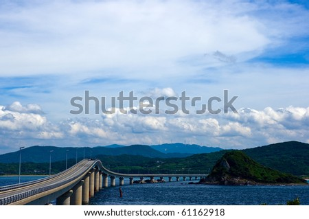 Sea and bridge of summer Tunosima