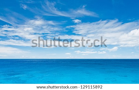 Sea and cloudy sky. Tropical horizontal composition - stock photo