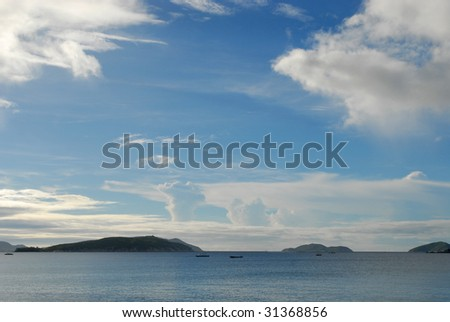 Sea  and islands view and sky with clouds