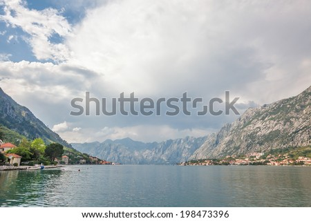sea and mountains in bad weather. Montenegro - stock photo