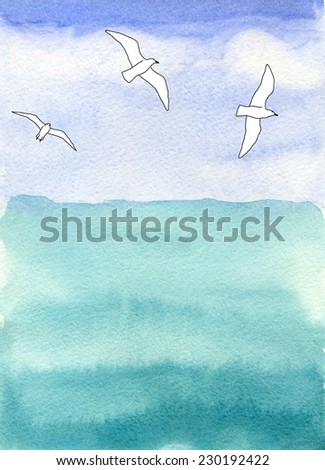 sea and sky, and sea gulls over water, watercolor - stock photo