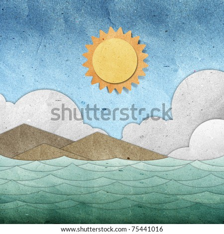 sea and sky recycled paper - stock photo