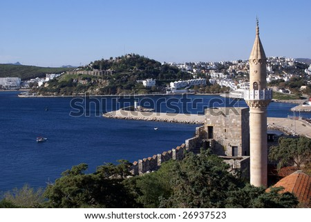 Sea and St Peter's castle in Bodrum, Turkey - stock photo