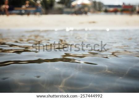 sea and the beach, selective focus - stock photo