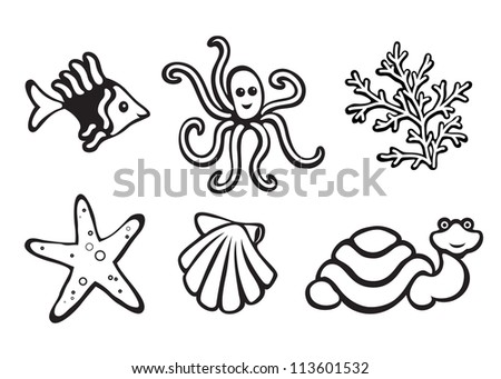 Sea animals isolated on white, set of icons. Vector version available in my portfolio - stock photo