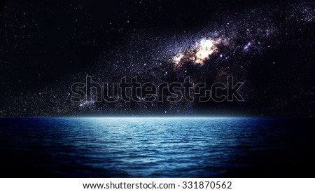 Sea at night. Elements of this image furnished by NASA
