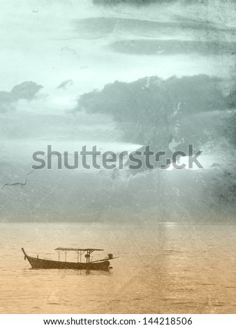 Sea background - vintage ocean template with fishing boat - sunrise - sunset
