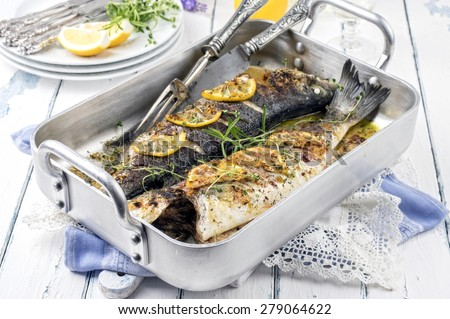 Sea Bass in Casserole - stock photo