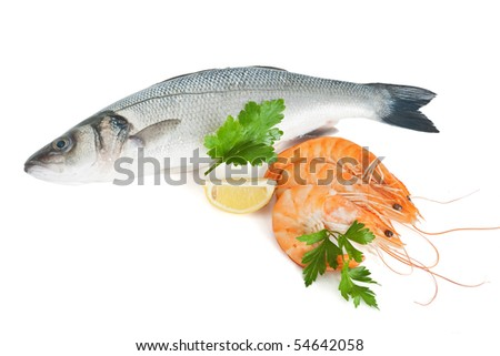 sea bass with prawns, lemon and parsley isolated on white background with clipping path - stock photo