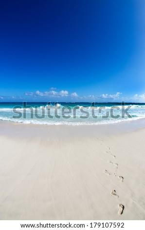 sea beach blue sky sand sun daylight relaxation landscape - stock photo