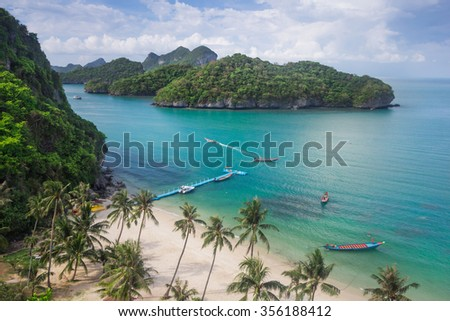Sea beach island sky with bird eye view at Mu Ko Ang Thong. This place is a marine national park in the Gulf of Thailand. - stock photo