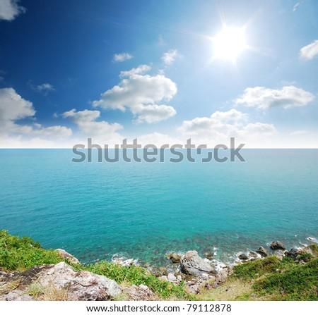 Sea blue sky island sand sun light landscape thailand - stock photo