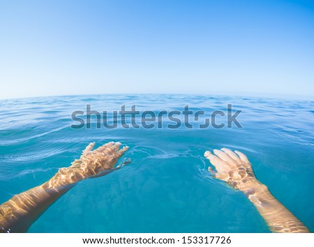 Sea blue view from first person - stock photo