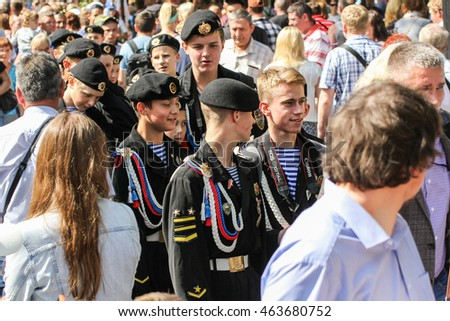 Sea cadets in a crowd. St. Petersburg, Russia - 31 July, 2016. Festive day of the Navy in St. Petersburg.