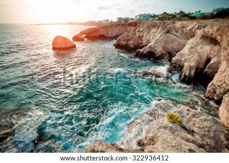 Sea Caves in Ayia Napa. Mediterranean Sea coast. Cyprus. Color tone tuned - stock photo