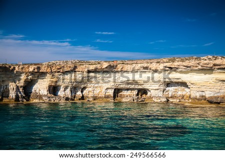 sea caves near Ayia Napa, Cape Greco, Cyprus - stock photo