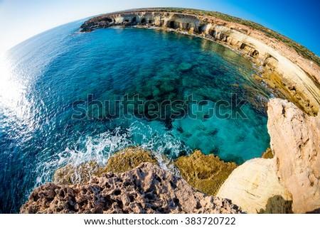 Sea caves near Cape Greco. Ayia Napa, Cyprus. - stock photo