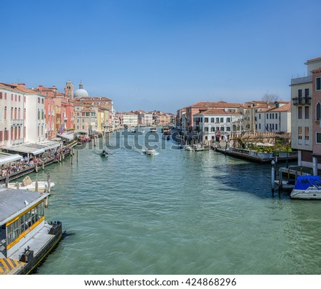 Sea channel separating two banks in Venezia, Italy