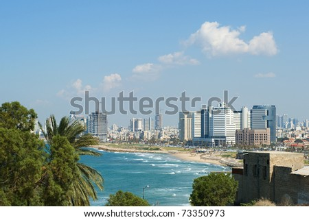 Sea coast and the view of the Tel Aviv - stock photo