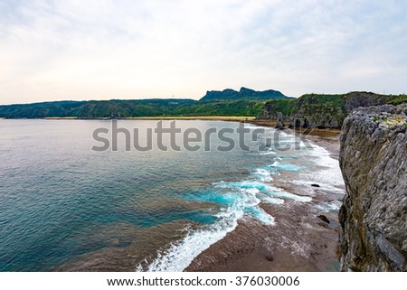 Sea, coast, cliffs, seascape. Okinawa, Japan, Asia.