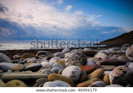 Sea coast from a pebble - stock photo