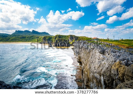 Sea, coast, rock, seascape. Okinawa, Japan, Asia.