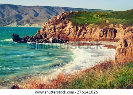 Sea coastline in the morning after storm. Fresh breeze.  - stock photo