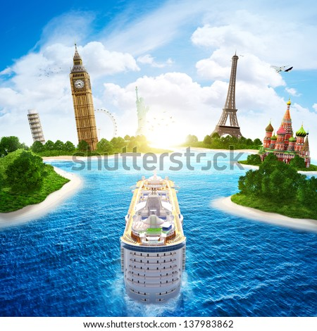 Sea cruise by Europe and countries of the world. - stock photo
