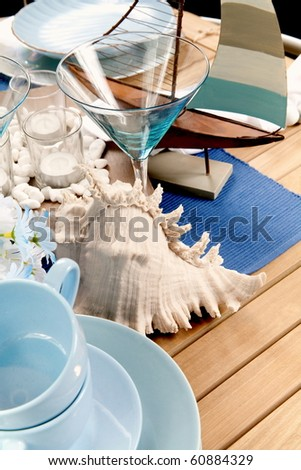 Sea decoration on the table