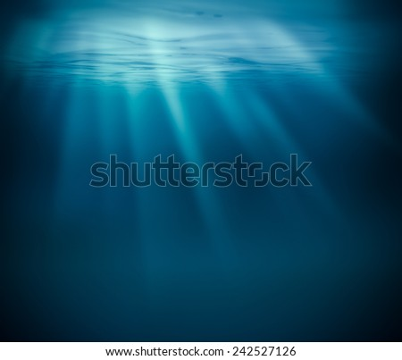 Sea deep or ocean underwater - stock photo