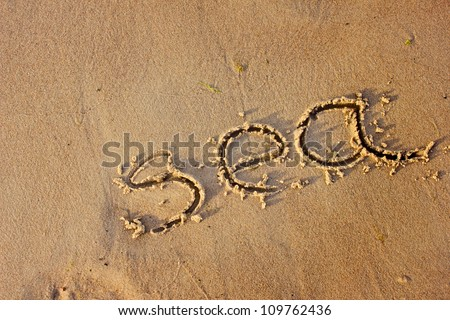 Sea drawn in the sand/Sea background with a sand